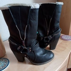 Candies Heeled Leather Boots